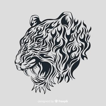 Fronte della tigre con stile tribale