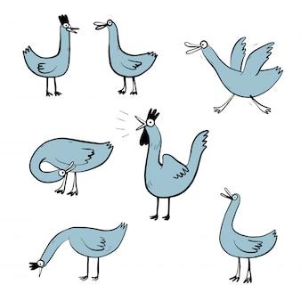 Fronte di emozione differente di progettazione stabilita dell'illustrazione di vettore dell'anatra.