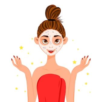 Fronte femminile di bellezza con maschera cosmetica. stile cartone animato.