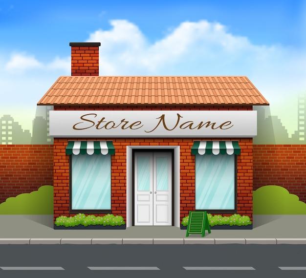 Fronte negozio di design piatto con il posto per nome