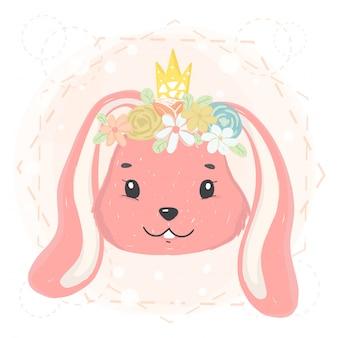 Fronte sveglio del coniglietto con la corona e la corona del fiore in primavera