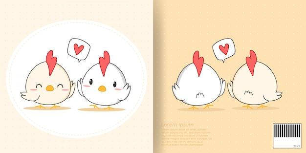 Fronte sveglio e copertina posteriore di scarabocchio del fumetto delle piccole coppie amante del pollo per il taccuino