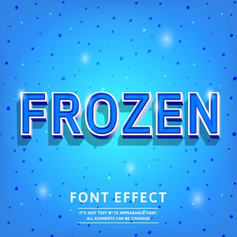 Frozen blue 3d text effect vintage elegante a colori freddi