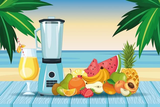 Frullati con cesto di frutta e frullatore