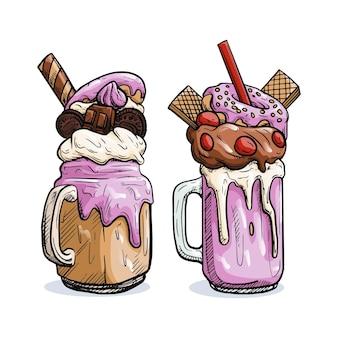 Frullati deliziosi di mostri di gelato