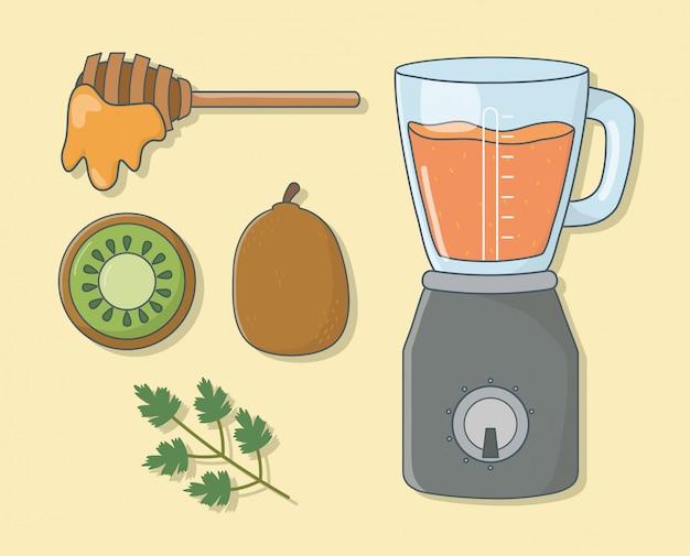 Frullatore con preparazione sana di miele e kiwi
