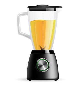 Frullatore elettrico fisso da cucina con ciotola in vetro. cucinare frullati, cocktail o succhi.