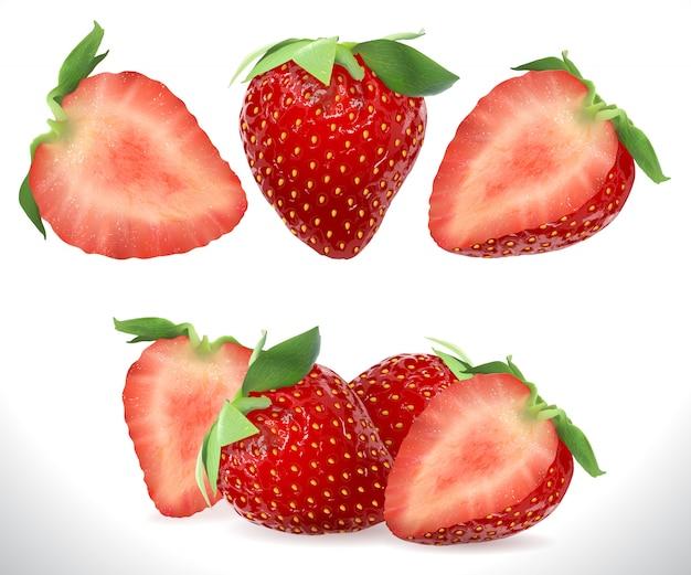 Frutta 3d realistica della bacca dolce della fragola