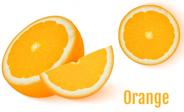 Frutta arancione isolato su sfondo bianco.