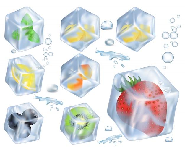 Frutta, bacche e erbe nel ghiaccio