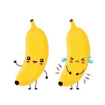 Frutta della banana di grido triste e sorridente felice carino. personaggio dei cartoni animati.