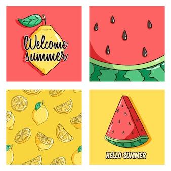 Frutta di limone e anguria per carte o modello di banner utilizzando lo stile di doodle colorato