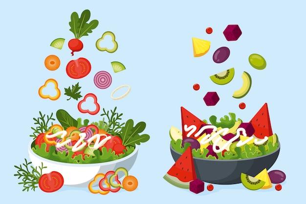 Frutta e insalata in ciotole