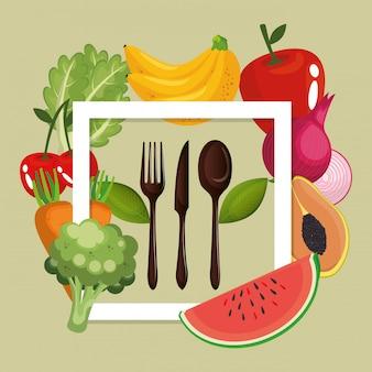 Frutta e verdura cibo sano