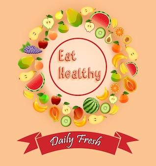 Frutta ed etichette con concetti a forma circolare