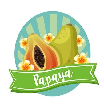 Frutta esotica etichetta papaia
