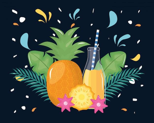 Frutta fresca del succo di ananas in botttle con paglia in decorazione floreale