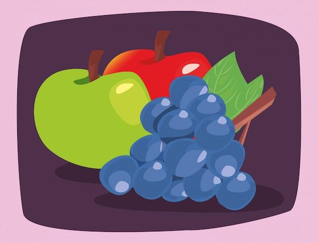 Frutta fresca di nutrizione delle mele dell'uva