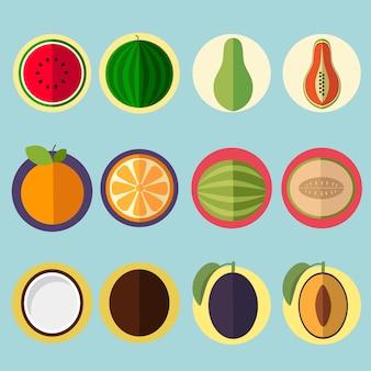 Frutta set di icone
