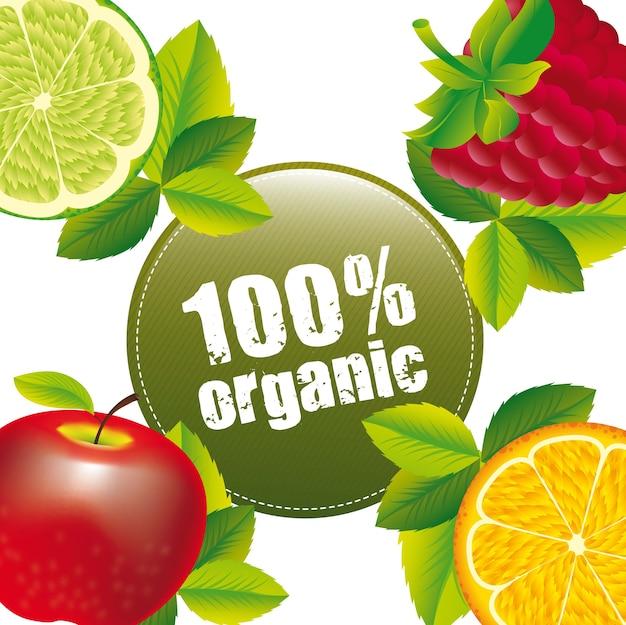 Frutti con foglie con etichetta verde. illustrazione vettoriale