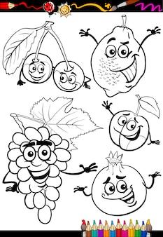 Frutti di cartone animato impostato per libro da colorare