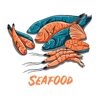 Frutti di mare disegnati a mano di colore. illustrazione di vettore di pesce, gamberi e ostriche.