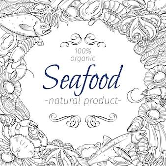 Frutti di mare disegnati a mano modello di telaio