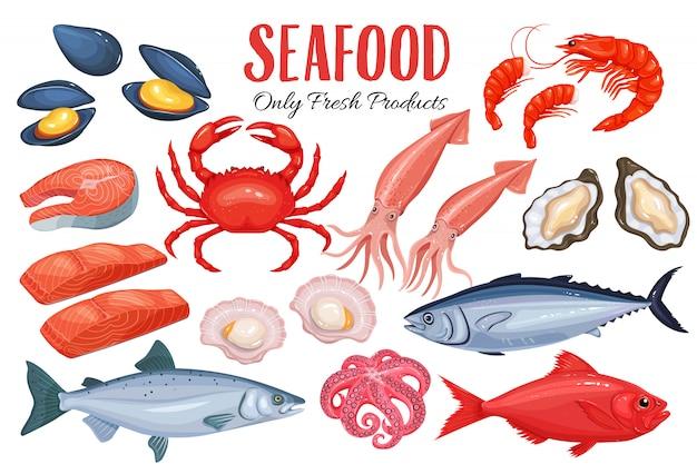 Frutti di mare in stile cartone animato.