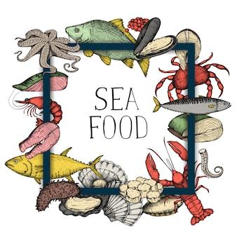 Frutti di mare vintage disegnati a mano sullo sfondo