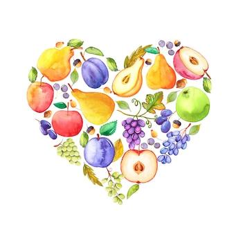 Frutti dipinti a mano dell'acquerello a forma di cerchio