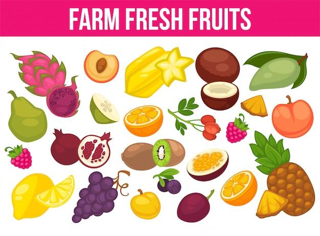 Frutti e bacche biologici raccolgono poster di mela fresca e mango o ananas, pera naturale, uva e banana tropicale.