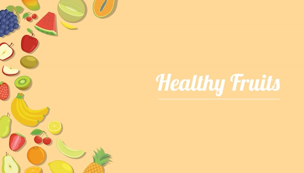 Frutti sani con vari tipi di frutta per lo sfondo