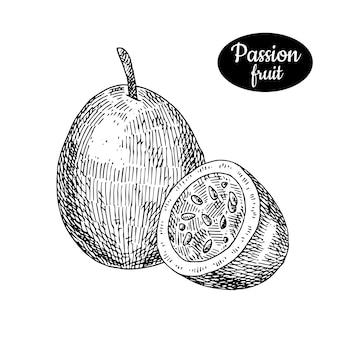 Frutto della passione disegnato a mano.