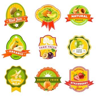 Fuits emblem labels set
