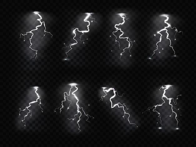 Fulmine realistico. temporale elettricità blu cielo blitz flash temporale tempestoso temporale. set di fulmini
