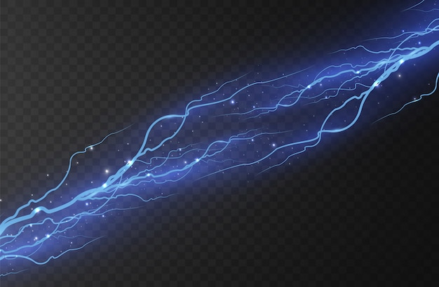 Fulmine. scarica elettrica e corrente. effetti di luce magici e luminosi. azzurro.