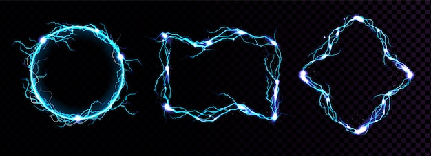 Fulmini, bordi blu elettrico, portali magici, colpo di energia.