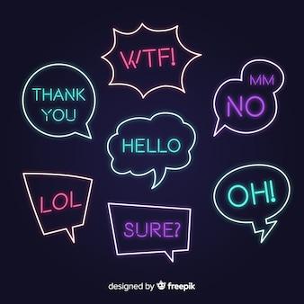 Fumetti al neon con espressioni diverse