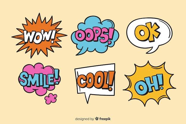 Fumetti colorati con espressioni diverse