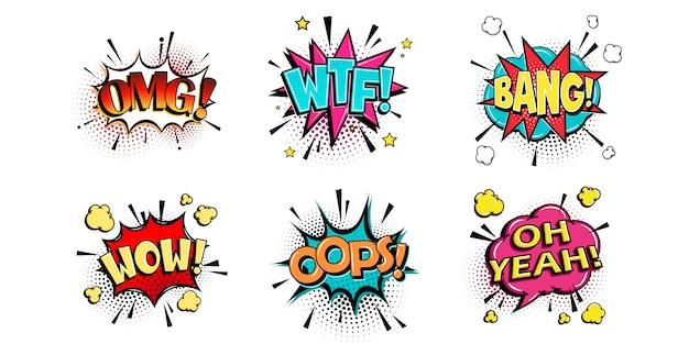 Fumetti comici con diverse emozioni e testi omg, wtf, bang, wow, opp, oh yeah