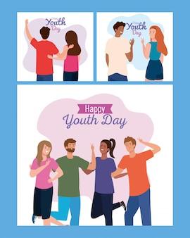 Fumetti delle donne e degli uomini che sorridono della giornata della gioventù felice
