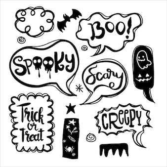 Fumetti di halloween messi con testo