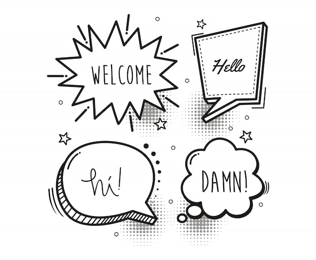 Fumetti fumetto parola cartone animato benvenuto, ciao, ciao, dannazione