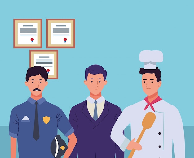 Fumetti sorridenti dei caratteri dei lavoratori dei professionisti