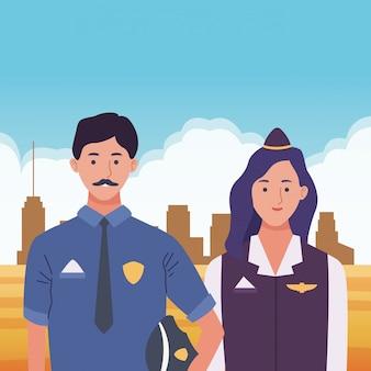 Fumetti sorridenti delle coppie dei lavoratori dei professionisti