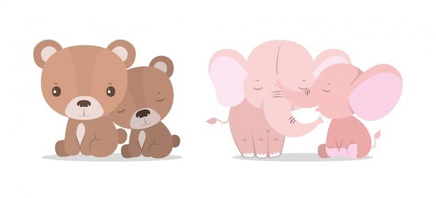 Fumetti svegli isolati degli orsi e degli elefanti