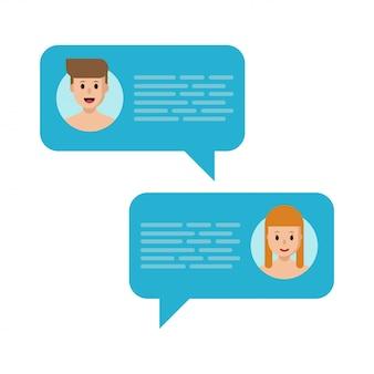 Fumetti vettoriali. cgatting nei social media. notifiche dei messaggi di chat.