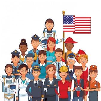 Fumetto americano della festa del lavoro