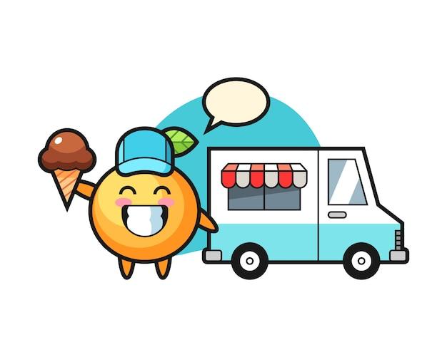 Fumetto arancione della frutta con il camion del gelato