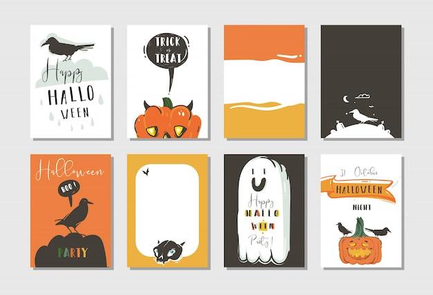 Fumetto astratto disegnato a mano happy halloween illustrazioni festa poster e carte da collezione con corvi, pipistrelli, zucche e calligrafia moderna su sfondo bianco.